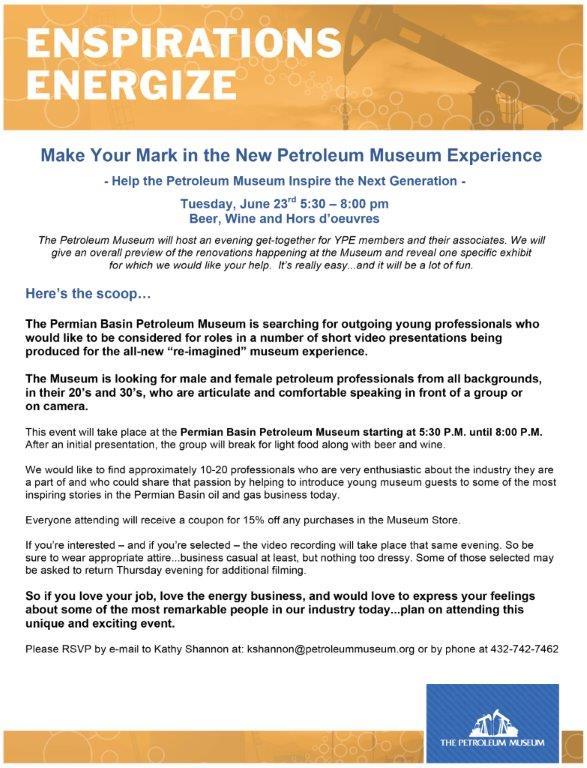 Upcoming Events | YPE Midland – Petroleum Museum